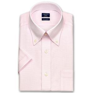 ワイシャツ Yシャツ メンズ 半袖 | CHOYA SHIRT FACTORY | 形態安定加工 ピンクチェック ボタンダウンシャツ|choyashirts