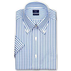 ワイシャツ Yシャツ メンズ 半袖 | CHOYA SHIRT FACTORY | 形態安定加工 ブルー ロンドンストライプ ボタンダウンシャツ|choyashirts