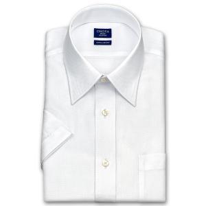 ワイシャツ Yシャツ メンズ 半袖 | CHOYA SHIRT FACTORY | 形態安定加工 ダイヤ柄 白ドビー レギュラーカラーシャツ|choyashirts