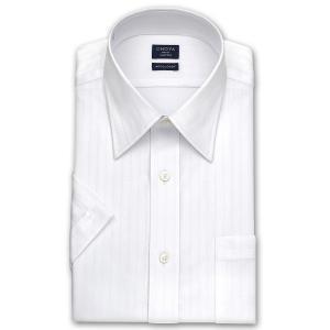 ワイシャツ Yシャツ メンズ 半袖   CHOYA SHIRT FACTORY   形態安定加工 白ドビーストライプ レギュラーカラーシャツ choyashirts