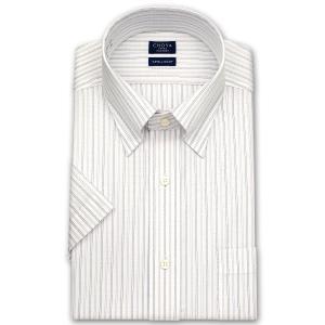 ワイシャツ Yシャツ メンズ 半袖 | CHOYA SHIRT FACTORY | 形態安定加工 パープルとブラックのストライプ スナップダウンシャツ|choyashirts