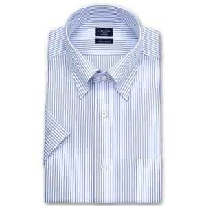 ワイシャツ Yシャツ メンズ 半袖   CHOYA SHIRT FACTORY   形態安定加工 ブルーストライプ スナップダウンシャツ choyashirts