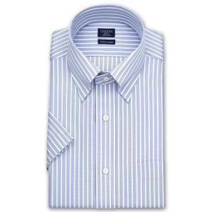 ワイシャツ Yシャツ メンズ 半袖 | CHOYA SHIRT FACTORY | 形態安定加工 ブルーストライプ スナップダウンシャツ|choyashirts