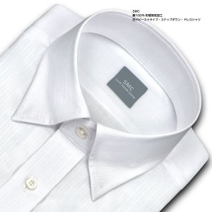 ワイシャツ Yシャツ メンズ 長袖 | SHIRT MAKER CHOYA | 綿100% 形態安定加工 白ドビーストライプ スナップダウン WEB限定|choyashirts|02