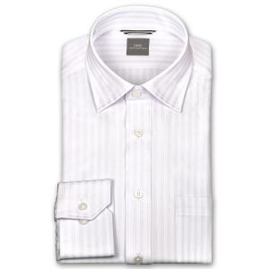 ワイシャツ Yシャツ メンズ 長袖   SHIRT MAKER CHOYA   形態安定 ややスリム ドビーストライプ ワイドカラー ニットシャツ おしゃれ choyashirts
