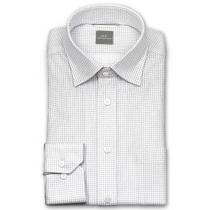 ワイシャツ Yシャツ メンズ 長袖   SHIRT MAKER CHOYA   形態安定 ややスリム マイクロチェック ワイドカラー ニットシャツ おしゃれ choyashirts