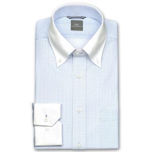 ワイシャツ Yシャツ メンズ 長袖 | SHIRT MAKER CHOYA | 形態安定 ややスリム マイクロブルーチェック ボタンダウン ニットシャツ おしゃれ|choyashirts