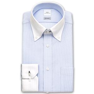 ワイシャツ Yシャツ メンズ 長袖 | SMC | Shiwanon 形態安定加工 星型ブルードビー クレリック ボタンダウンシャツ|choyashirts