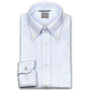 ワイシャツ Yシャツ メンズ 長袖   SHIRT MAKER CHOYA   形態安定 ややスリム ピンストライプ ボタンダウン ニットシャツ おしゃれ choyashirts