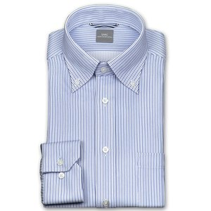 ワイシャツ Yシャツ メンズ 長袖   SHIRT MAKER CHOYA   形態安定 ややスリム ストライプ ボタンダウン ニットシャツ おしゃれ choyashirts