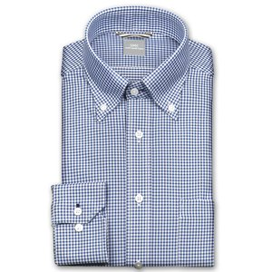 ワイシャツ Yシャツ メンズ 長袖 | SHIRT MAKER CHOYA | 形態安定 ややスリム ギンガムチェック ボタンダウン ニットシャツ おしゃれ|choyashirts