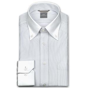 ワイシャツ Yシャツ メンズ 長袖 | SHIRT MAKER CHOYA | 形態安定 ややスリム グレーストライプ クレリック ニットシャツ おしゃれ|choyashirts