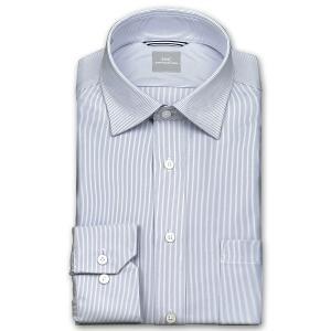 ワイシャツ Yシャツ メンズ 長袖   SHIRT MAKER CHOYA   形態安定 ややスリム ピンストライプ ワイドカラー ニットシャツ おしゃれ choyashirts