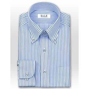 ワイシャツ Yシャツ メンズ 長袖   ELLE HOMME   形態安定 涼感素材 ゆったり ブルーストライプ ボタンダウンシャツ おしゃれ choyashirts 02