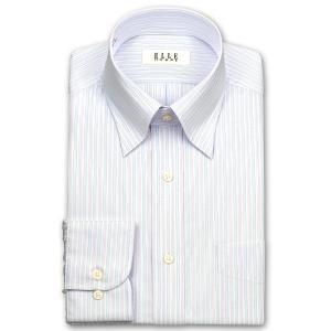 ワイシャツ Yシャツ メンズ 長袖 | ELLE HOMME | 形態安定 涼感素材 ブルー/パープルのトリプルストライプ ボタンダウン おしゃれ|choyashirts