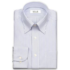 ワイシャツ Yシャツ メンズ 長袖 | ELLE HOMME | 形態安定 吸水速乾  パープルストライプ・スナップダウンシャツ おしゃれ|choyashirts