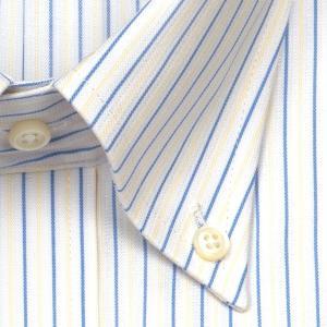 ワイシャツ Yシャツ メンズ 長袖 | ELLE HOMME | 形態安定 涼感素材 オルタネイトストライプ ボタンダウンシャツ おしゃれ|choyashirts|03