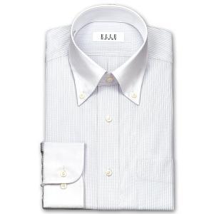 ワイシャツ Yシャツ メンズ 長袖 | ELLE HOMME | 形態安定 涼感素材 パープルグレーストライプ クレリック ボタンダウン おしゃれ|choyashirts