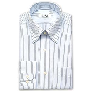 ワイシャツ Yシャツ メンズ 長袖 | ELLE HOMME | 形態安定 ブルーピンストライプ スナップダウン|choyashirts