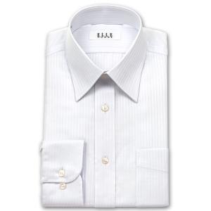 ワイシャツ Yシャツ メンズ 長袖 | ELLE HOMME | 形態安定 白ドビーストライプ レギュラーカラーシャツ おしゃれ|choyashirts