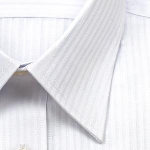 ワイシャツ Yシャツ メンズ 長袖 | ELLE HOMME | 形態安定 白ドビーストライプ レギュラーカラーシャツ おしゃれ|choyashirts|03