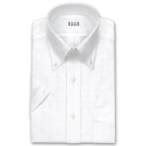 ワイシャツ Yシャツ メンズ 半袖 | ELLE HOMME | 形態安定加工 ジャガード 千鳥格子 ボタンダウン ホワイト|choyashirts