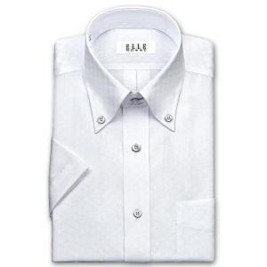 ワイシャツ Yシャツ メンズ 半袖 | ELLE HOMME | 形態安定 白ドビーチェック ボタンダウンシャツ おしゃれ|choyashirts