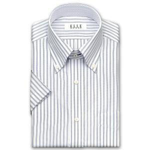 ワイシャツ Yシャツ メンズ 半袖 | ELLE HOMME | 形態安定 ネイビーとブラックのトリプルストライプ ボタンダウンシャツ おしゃれ|choyashirts