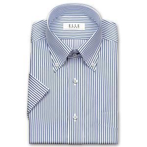 ワイシャツ Yシャツ メンズ 半袖 | ELLE HOMME | 形態安定 ネイビーのロンドンストライプ ボタンダウンシャツ おしゃれ|choyashirts