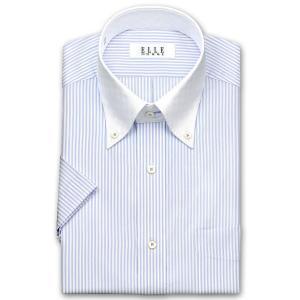 ワイシャツ Yシャツ メンズ 半袖 | ELLE HOMME | 形態安定 ブルーのロンドンストライプ クレリック ボタンダウンシャツ おしゃれ|choyashirts
