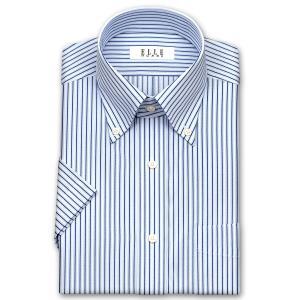ワイシャツ Yシャツ メンズ 半袖 | ELLE HOMME | 形態安定 ブルーストライプ ボタンダウンシャツ おしゃれ 父の日 プレゼント ギフト 父親 お父さん|choyashirts