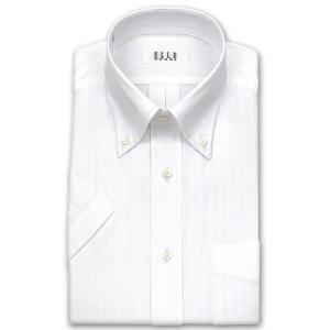 ワイシャツ Yシャツ メンズ 半袖 | ELLE HOMME | 形態安定加工 白ドビー ダブルストライプ ボタンダウン|choyashirts