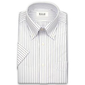 ワイシャツ Yシャツ メンズ 半袖 | ELLE HOMME | 形態安定加工 パープルストライプ ボタンダウン おしゃれ|choyashirts