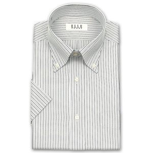 ワイシャツ Yシャツ メンズ 半袖 | ELLE HOMME | 形態安定加工 モノトーンストライプ ボタンダウン おしゃれ|choyashirts