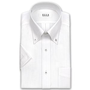 ワイシャツ Yシャツ メンズ 半袖 | ELLE HOMME | 形態安定加工 白ドビーストライプ ボタンダウンシャツ おしゃれ|choyashirts