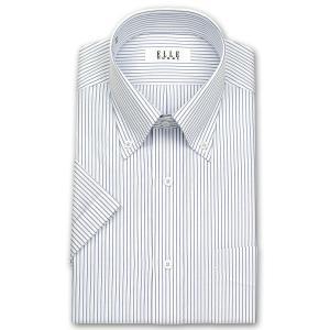 ワイシャツ Yシャツ メンズ 半袖 | ELLE HOMME | 形態安定加工 ブルーとグレーのピンストライプ ボタンダウンシャツ おしゃれ|choyashirts