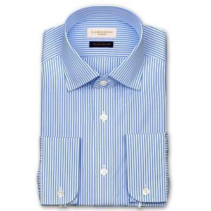 ワイシャツ Yシャツ メンズ 長袖 | LORDSON Crest | 綿100% 形態安定加工 スリム ロンドンストライプ ワイドカラーシャツ おしゃれ|choyashirts