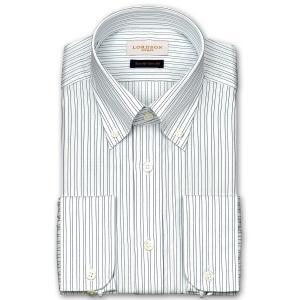 ワイシャツ Yシャツ メンズ 長袖 | LORDSON Crest | 綿100% 形態安定加工 スリム ピンストライプ ボタンダウン おしゃれ|choyashirts