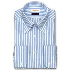 ワイシャツ Yシャツ メンズ 長袖 | LORDSON Crest | 綿100% 形態安定加工 スリム ブルーストライプ ボタンダウン おしゃれ|choyashirts