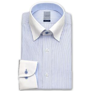 ワイシャツ Yシャツ メンズ 長袖 | LORDSON | 綿100% 形態安定加工 標準体 ブルーストライプ  クレリックスナップダウンシャツ|choyashirts