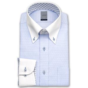 ワイシャツ Yシャツ メンズ 長袖 | LORDSON | 形態安定加工 ブルーのクレストドビー クレリック ボタンダウンシャツ|choyashirts