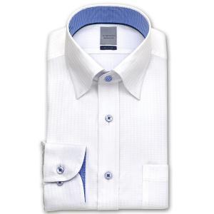 ワイシャツ Yシャツ メンズ 長袖 ホワイト 白 | LORDSON | 形態安定加工 千鳥柄ドビー...