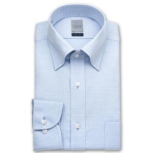 ワイシャツ Yシャツ メンズ 長袖 | LORDSON | 形態安定加工 ブルーの幾何ドビー スナップダウンシャツ|choyashirts