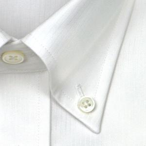 ワイシャツ Yシャツ メンズ 長袖 | LORDSON Crest | 綿100% 形態安定加工 スリム ビーストライプ ボタンダウン おしゃれ|choyashirts|03