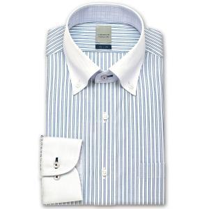 ワイシャツ Yシャツ メンズ 長袖 | LORDSON | 形態安定加工 ダブルストライプ ボタンダウン|choyashirts