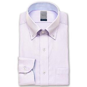 ワイシャツ Yシャツ メンズ 長袖 | LORDSON | 形態安定加工 パープルドビーストライプ ボタンダウン おしゃれ|choyashirts