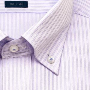 ワイシャツ Yシャツ メンズ 長袖 | LORDSON | 形態安定加工 パープルドビーストライプ ボタンダウン おしゃれ|choyashirts|03