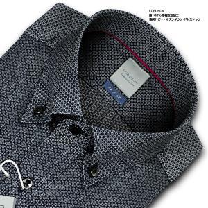 ワイシャツ Yシャツ メンズ 長袖   LORDSON   綿100% 形態安定加工 標準体 長袖 幾何ドビー ボタンダウンドレスシャツ(ブラック)...