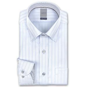 ワイシャツ Yシャツ メンズ 長袖 | LORDSON | 形態安定加工 ブルードビーストライプ スナップダウンシャツ|CHOYA シャツ