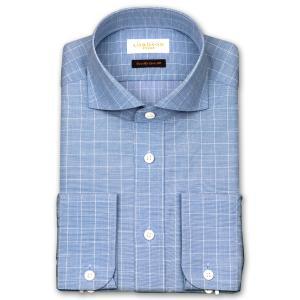 ワイシャツ Yシャツ メンズ 長袖 | LORDSON Crest | 綿100% 形態安定加工 スリム ウインドウペンチェック ワイドカラー(カッタウエイ) おしゃれ|choyashirts
